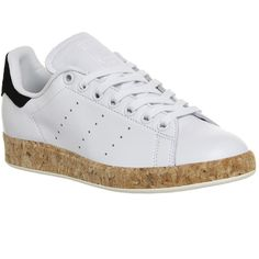 Adidas Stan Smith Luxe ($94) ❤ liked on Polyvore featuring shoes, hers trainers, trainers, vintage white core black, adidas shoes, off white shoes, adidas footwear, black tennis shoes and kohl shoes