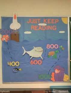 Finding nemo themed bulletin board for 3rd grade reading incentive