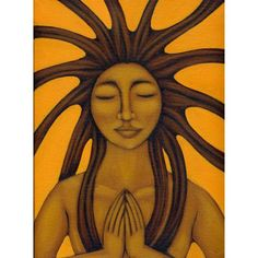 Sun goddess ethnic folk art prayer painting by Tamara Adams