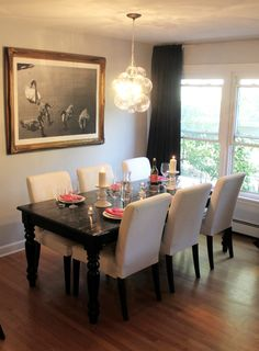 Want a dining room table and chairs like this. Simple, yet big enough to entertain.