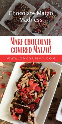 Why wait for Passover to eat Chocolate Covered Matzo with Toasted Nuts and Sea Salt. This chocolate and butterscotch-like topped cracker is so easy to make. It's a simple satisfying and scrumptious dessert for Passover or any time of the year. Halloween Dessert Table, Halloween Desserts, Holiday Desserts, Passover Desserts, Passover Recipes, Passover Food, Hanukkah Recipes, Gluten Free Chocolate, Chocolate Desserts