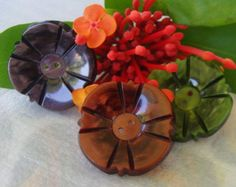 Art Deco Vintage Buttons Large Flower Shape Marbled Casein 3 Colours Green, Brown, Red