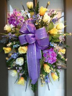 Spring/Easter Floral arrangement Door Wreath/Swag {tulips and roses; the colors are Easter themed}