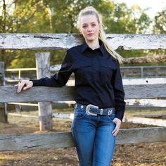 Womens Long Sleeve Brigalow Work Shirts Ladies Western Shirts, Ladies Shirts, Western Wear, Western Boots, Work Shirts, Overalls, Lady, Jeans, Long Sleeve