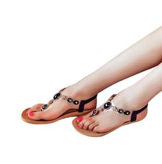 Inkach® Women Summer Bohemia Sweet Beaded Thong Sandals Clip Toe Sandals Beach Shoes *** Visit the image link more details.