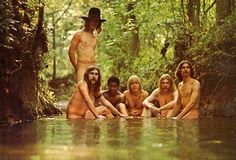 The Allman Brothers Band photo by Stephen Paley, 1969 -- From the photo session for the (inside) cover of their debut album, this outtake of (from left) Berry Oakley, Butch Trucks, Jai Johanny Johanson, Gregg Allman, Duane Allman and Dickie Betts was taken near the band's hometown, Macon, Georgia. (Michael Ochs Archives)@dmvc