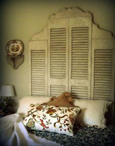 shutters as headboard. so lovely, so feminine