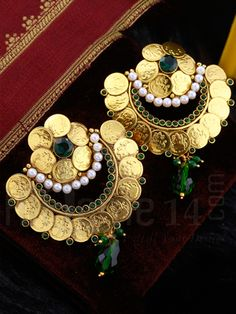 Earrings with Antique Mahalakshmi Coins