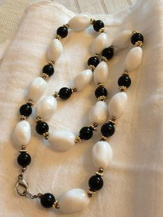 Chunky White and Black Beaded Lucite Necklace