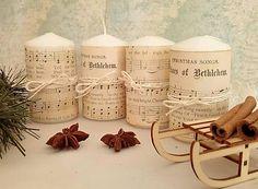 dekora15 / sada vianočných sviečok s notami
