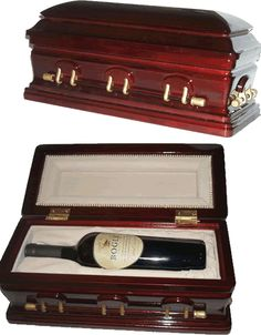 Casket wine display box. Perfect for a hostess gift for a funeral director who loves wine or Halloween Party Decor.