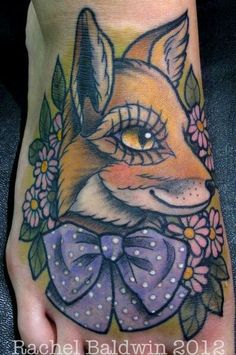 Fox with a bow and flowers.  Traditional American style