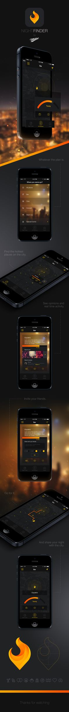 Night Finder App iOS 7 redesign exercise of a project I participated last year for Miller Genuine Draft (MGD). With the Night Finder you can discover the. Web Design, Flat Design, Design Layouts, Store Design, Gui Interface, User Interface Design, Apps, Ui Web, Responsive Web