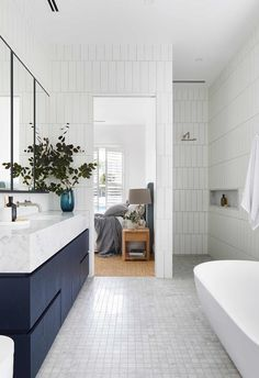 family bathroom at our Mornington project. Crisp, textured, navy joinery is family bathroom at our Mornington project. Crisp, textured, navy joinery is Coastal luxe meets Hamptons style in this Mornington Peninsula home Family Bathroom, Budget Bathroom, Bathroom Interior, Bathroom Ideas, Modern Bathroom, Minimalist Bathroom Furniture, Bathroom Updates, Bathroom Inspo, Design Bathroom