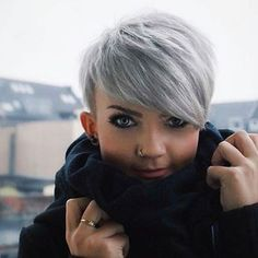 Short Silver Pixie Hair