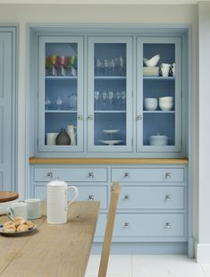 'Blue Kitchen' was the brief for this Yorkshire kitchen from the outset. With hand-painted 'New Classic' furniture in our 'Summer Sky' blue paint, this kitchen is the perfect space for family dining. Family Kitchen, New Kitchen, Kitchen Decor, Kitchen Design, Bespoke Kitchens, Luxury Kitchens, Sky Blue Paint, Building Extension, New Classic Furniture