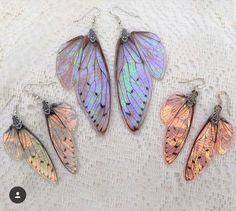 I just wanted to take a quick photo to show the size difference between my normal sized wing earrings compared to my new large wing… - Amazing Pins Cute Jewelry, Jewelry Box, Jewelry Accessories, Fashion Accessories, Jewelry Making, Jewlery, Fairy Jewelry, Resin Jewellery, Wing Earrings