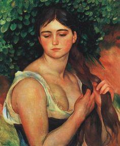 Renoir, Pierre-Auguste - The Braid - Impressionism - Oil on canvas - Nude - Museum Langmatt - Baden, Switzerland