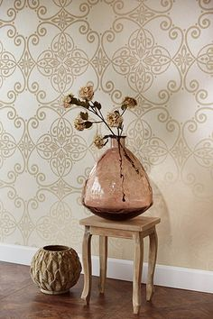 342024 Beige Scroll Damask - Galina - Venue Wallpaper by Eijffinger Damask Wallpaper, Wallpaper Online, Wallpaper Ideas, Country Chic, Modern Classic, Wall Murals, Home Accessories, Home Improvement, Prints