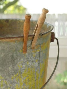 Old Pail & Clothespins
