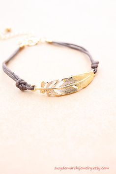 Gold Feather Bracelet  Dainty Leather by SusyDeMarchiJewelry