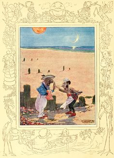"""7. """"The Walrus and the Carpenter."""" ---- Charles Folkard Illustrations: Songs from Alice in Wonderland and Through the Looking-Glass"""