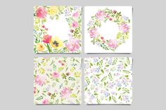 Greeting card and flower pattern by WatercolorStore on Creative Market