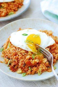 I love bacon in fried rice and especially with kimchi. Sometimes I use bacon (or pancetta) in kimchi jigae just to get that smoky flavor. Rice Recipes, Asian Recipes, Cooking Recipes, Easy Korean Recipes, Chinese Recipes, Noodle Recipes, Vegetarian Recipes, Healthy Recipes, Korean Dishes