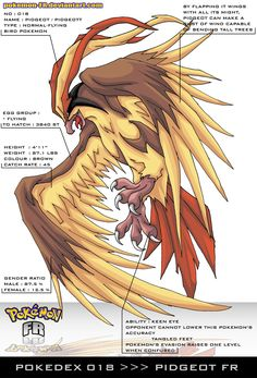Pokedex 018 - Pidgeot FR by Pokemon-FR on @DeviantArt