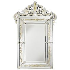 """Alloza Engraved Gold Leaf 24""""x38"""" Crown Top Wall Mirror"""