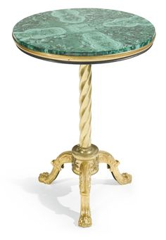 A GILT-BRONZE AND MALACHITE TABLE, CIRCA 1840