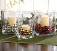 christmas decor/diy | glass vases, candles, & jingle bells