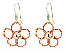 Tianguis Jackson Copper and Silver Open Flower Drop Earrings