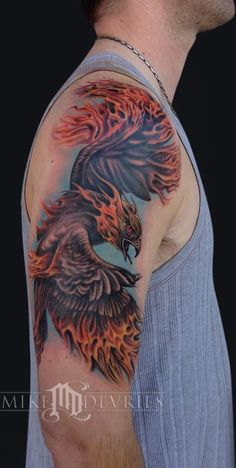 Nice Right Half Sleeve Color Ink Phoenix Tattoo