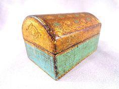 Boite coffret à bijoux en bois doré florentin made in italy, cadeau pour elle
