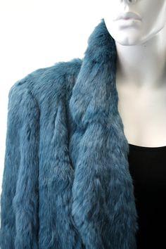 Fur Coat: Vintage Teal Blue Jewel Tone Rabbit Fur Real by ELOFSON