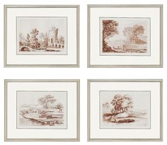 Each of these exclusive giclée landscape prints is set in a molded wood frame…