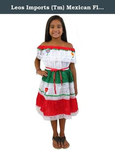 Leos Imports (Tm) Mexican Flor Dress for Girls (Ages 1, Tricolor). Mexican dance dress for girls. Elegant dress with elastic on waist for a comfortable fit. Features flower accents stitched by hand in the white sections. Each dress is unique due to the embroidered flowers. Ideal for Fiesta, Mexican dance, ethnic day, or as a summer dress. Size is based in the age of the wearer and not in commercial store sizes. Available in Pink, Blue,Purple, Yellow, Violet, or Red. Made in Mexico in 50%...