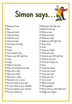 Simon says. Printable ideas for playing Simon Says. Great for Brain Breaks Preschool Songs, Preschool Learning, Kids Songs, Listening Activities For Kids, Baby Activities, Physical Activities For Kids, Circle Time Activities, Name Games For Kids, Circle Time Ideas For Preschool