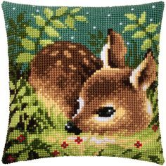 Needlepoint kit includes hand-painted cotton canvas, acrylic yarn, and needle. Mini Cross Stitch, Cross Stitch Needles, Cross Stitch Rose, Cross Stitch Animals, Cross Stitch Flowers, Cross Stitch Charts, Cross Stitch Designs, Cross Stitch Patterns, Hand Embroidery Stitches