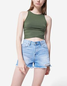 At Stradivarius you'll find 1 High waist vintage denim shorts for just 2970 Japan . Visit now to discover this and more Trousers.