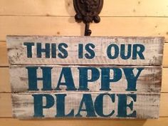 """""""HAPPY PLACE"""" Porch HANDMADE Pallet Family Rustic Country SIGN Wall Decor Home  