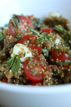 GreenLiteBites - LOVE this blog and its recipes.  Pictured - Sweet Mozzarella Caprese Quinoa Salad