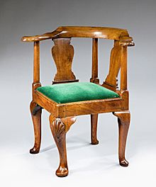 Queen Anne chair with Yoke back and cabriole legs with 'eagle clutching the pearl' foot.