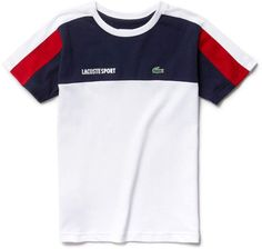 In ultra-dry technical jersey, this crew neck Lacoste Sport Tennis tee is brightened by iconic colorblocks. Polo T Shirts, Boys Shirts, Sports Shirts, Shirt Logo Design, Shirt Designs, Polos Lacoste, Sport Outfits, Kids Outfits, Streetwear Jackets