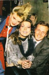 Princess Caroline of Monaco and husband Stefano Casiraghi with Princess Gloria von Thurn und Taxis at Dracula Club Party - St. Moritz /February 28,1986.