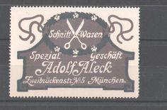 Reklamemarke Schnitt-Waren, Spezialgeschäft Adolf A. Leck, München, Logo mit Schere