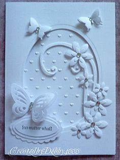 handmade greeting card from A Scrapjourney: LIM Cut it Out . die cute and embossing folder . negative space oval with embellishments . Butterfly Cards, Flower Cards, White Butterfly, Butterfly Flowers, White Flowers, Handmade Greetings, Greeting Cards Handmade, Wedding Anniversary Cards, Wedding Cards