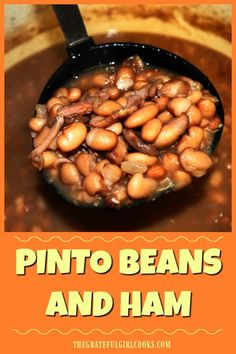 Crockpot Pinto Beans Recipe, Crockpot Ham And Beans, Pinto Bean Recipes, Bean Soup Recipes, Ham And Bean Soup, Ham Soup, Ham Bone Recipes, Pinto Bean Soup, Best Cornbread Recipe