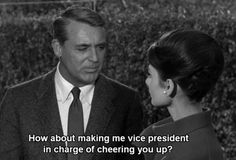 Peter Joshua: How about making me vice president in charge of cheering you up? - Cary Grant (Peter Joshua) and Audrey Hepburn (Regina Lampert) - Charade directed by Stanley Donen (1963)